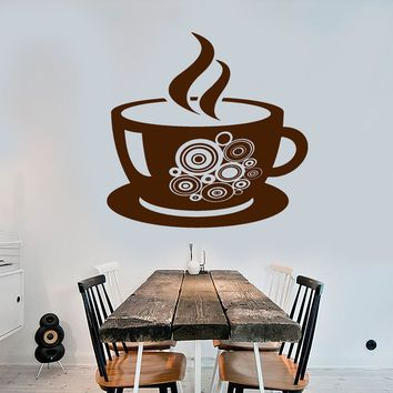 Vinyl Wall Decal Coffee Shop Cup Kitchen Decor Stickers Unique Gift (ig3987)