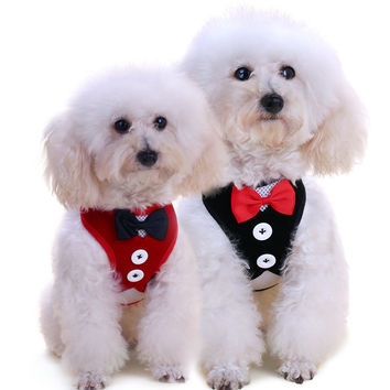 Pet Accessories Tuxedo Harness Vest and Bow Tie for Small Dogs