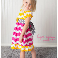 Bright Chevron and Polka dot summer dress.   Pink, Yellow, and Gray.  Photography prop, birthday dress, or gift.  FREE matching headband.