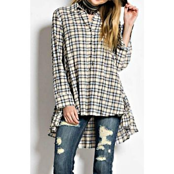 Perfectly Plaid Button Down Tunic Top