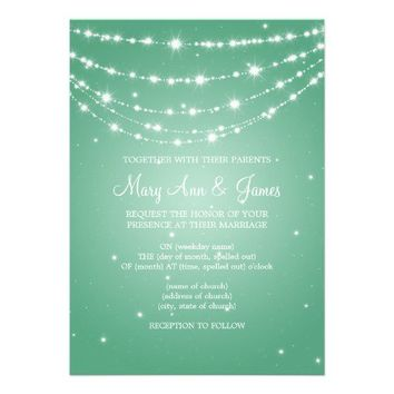 Elegant Wedding Sparkling Chain Mint Green Personalized Invitations from Zazzle.com