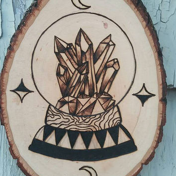 Crystall Ball wood burned sign