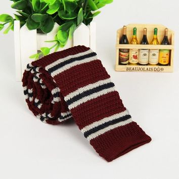 5cm red blue and White Striped knitting solid slim neck ties classic polyester narrow neck guitars knitted necktie skinny
