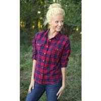 Playful In Plaid Blouse