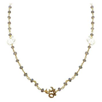 "CHG-197-LB-OM-18"" 18K Gold Overlay Necklace With Labradorite"