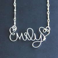 Custom Name Necklace Personalized Wire Word