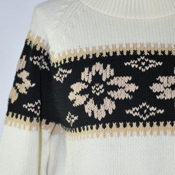 60s ivory ski sweater / vintage 1960s scandinavian sweater / acrylic knit jumper / With The Bands sweater
