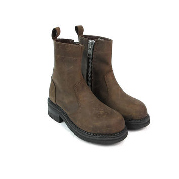 1990s Brown Leather Boots Grunge Leather Boots Chunky Heel Boots Pull On Tabs 1990s Combat Boots Work Boots Zipper Round Toe Size 5