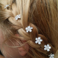 Beautiful Bridal Crystal Flower Hair Pins (set of six)