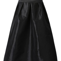 Black High Waist Ruched Midi Skirt