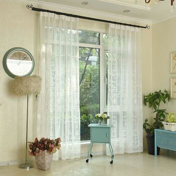 100X250cm Rustic Curtain Yarn Customize Finished Products Balcony White Window Curtain the Vedroom