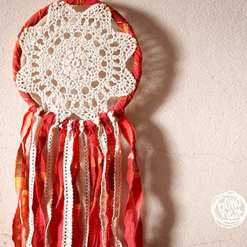 Dream Catcher - Wonderland - With Round Floral Crochet, Laces and Colorful Red Toned Textiles - Boho Home Decor, Nursery Mobile