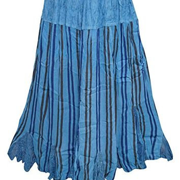 Women's Skirt Washed Blue Vertical Stripes Gypsy Hippie Skirts L