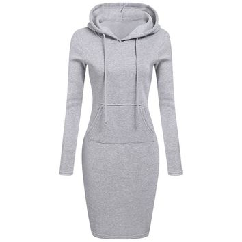 Women Long Sleeve Hooded Sweatshirt Dress Ladies Bodycon Hoodies Dress With Pocket Casual Sheath Knee Length Dress