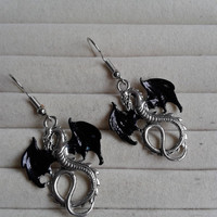 closing sale - Silver dragon black  wings  dangle earrings