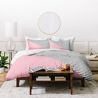 Allyson Johnson Pink n stripes Duvet Cover