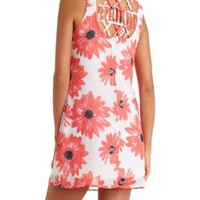 Floral Print Strappy Back Chiffon Shift Dress - Coral