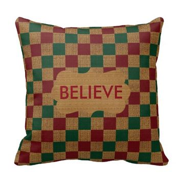 Green, Red and Tan Checkered Burlap Pillow