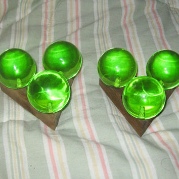 Pair of Vintage Mid Century Retro GREEN  LUCITE Acrylic Taper Candle Holders