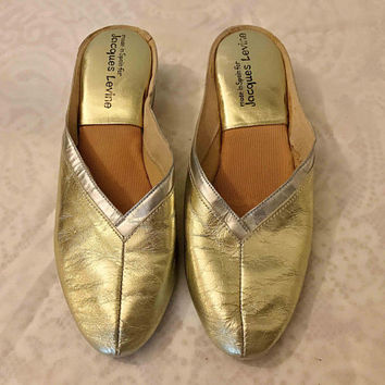 "Vintage 70s Jacques Levine ""V"" Classic Shoes / Metallic Gold & Silver Slip On Mules / Designer Shiny Gold Leather Covered Wedge Slippers"