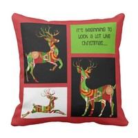 Holiday Pillow, Xmas Candy Reindeer Red/Green Pillows