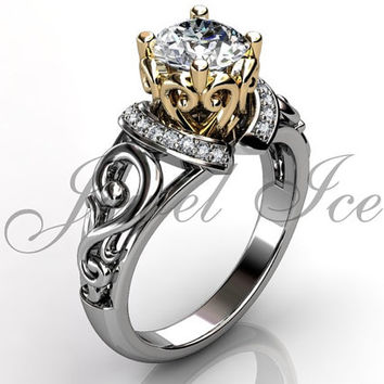 Engagement Ring - 14k White and Yellow Gold Diamond Art Deco Filigree Scroll Engagement Ring Wedding Ring Anniversary Ring ER-1124-4