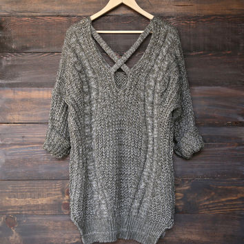 oversize cross back knit sweater - marle olive