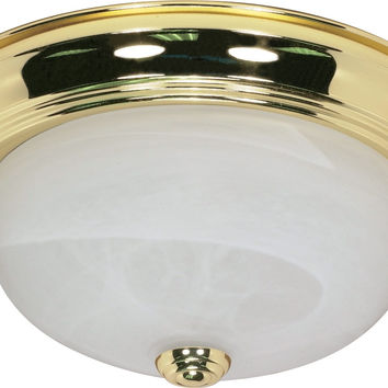 "13"" Flush Mount Lighting Fixture in Polished Brass Finish"