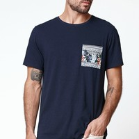 On The Byas Wallace Short Sleeve Pocket Crew T-Shirt - Mens Tee - Blue