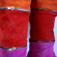 Multicolor Knee High Vintage Suede Zipper Boots, Fun Bright Colors 1980s Size7