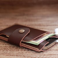 iPhone Wallet Case Mini Chocolate Brown Leather 4 or 4s ---- Natural Tan Hand-Stitching -- Perfect Groomsmen or Bridesmaids Gifts