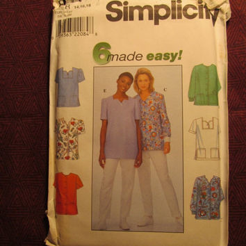 SALE Uncut 1998 Simplicity Sewing Pattern, 8351! 14-16-18 Medium/Large/XL/Women's/Misses/Scrubs Shirts/Short Sleeve Blouse/Front Button Tops