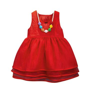 Girl Lace Dress Clothes 2017 Summer Kids Dresses for Girls Princess Party Wedding Sleeveless Baby Girl Tiered Dress