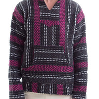 Baja Joe Drug Rag Hoodie Pullover Unisex New with Tags Hippie Poncho Navy and Pink S-XL