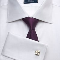 Men's Plain White Herringbone Slim-Fit Shirt