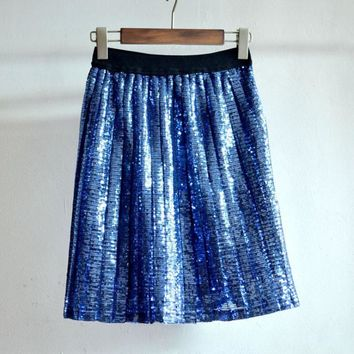 2017 European And American Fashion Knee-Length A Line Skirt High Waist Solid Sequins Pleated Skirt
