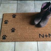 "Welcome mat / Doormat Personalized with Initial and dog or cat paw prints - 18x30"" natural coir"