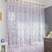 1pc 1M*2M Voile Curtain Leaf Type Tulle Tulle Voile Door Window Balcony Sheer Panel Screen Curtains for Living Room
