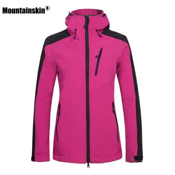 Mountainskin Women's Winter Softshell Fleece Jackets Outdoor Sportswear Hiking Trekking Camping Skiing Female Windbreaker VB045
