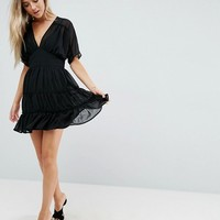 ASOS Soft Mini Dress with Tiers at asos.com