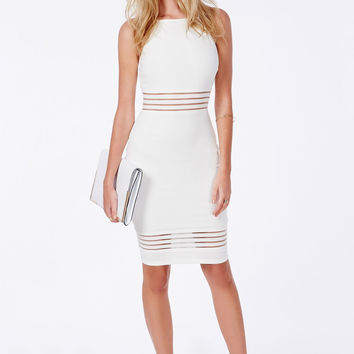 White Mesh Striped Sleeveless Pencil Dress