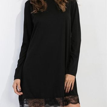 Casual Black Patchwork Lace Hollow-out Draped Band Collar High Neck A-line Mini Dress