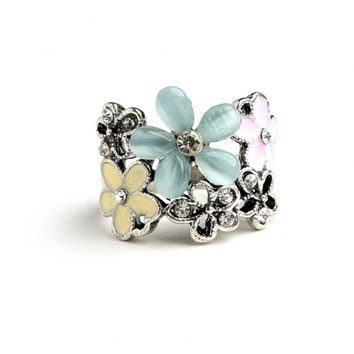 Women Fashion Jewelry Silver Tone Floral Statement Ring Rhinestones Beads Casual