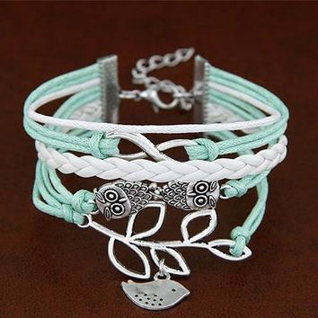 Bird on a Branch with Owl Friend Strand Bracelet in Silver and Mint