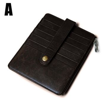 Mens Slim Leather Credit Card/ID Holder Minimalist Wallet Case Pouch