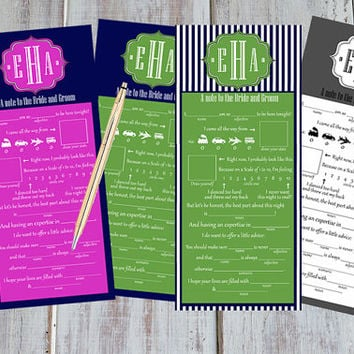 Wedding Madlibs monogrammed / wedding advice,  place setting or Guest book alternative Mad Libs navy and pink navy and green pinstripe
