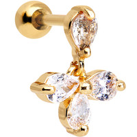 16 Gauge Gold Anodized Stainless Steel CZ Tragus Earring | Body Candy Body Jewelry