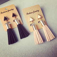 Fabric Triangle Tassel Drop Earrings Faux Suede Long Dangle Earrings