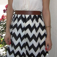 Blowing in the Wind Lace Chevron High Low Dress - Black/White