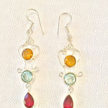 Citrine, Blue Topaz and garnet sterling silver earrings